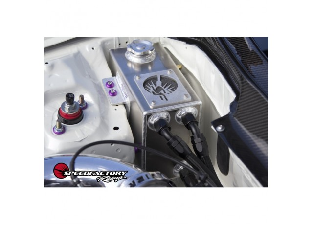 SpeedFactory Racing Angled Oil Catch Can with built in Coolant Overflow Tank
